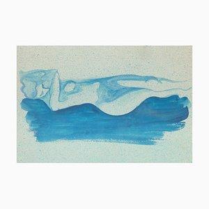 Blue Nude - Original Watercolor on Paper by Jean Delpech - 1960s 1960s