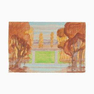 Landscape - Watercolor on Paper by Jean Delpech - 1940s 1940s