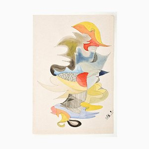 Composition - Original Ink and Watercolor Drawing on Paper - 1972 1972