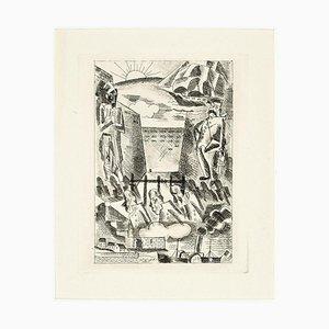 Landscape - Original Etching by Marcel Stobbaert - 1930 1930