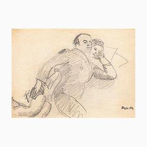 Sleeping Couple - Bleistiftzeichnung von J. Dreyfus-Stern - Frühes 20. Jahrhundert 1930er