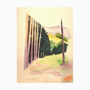 Into the French Woods - Original Watercolor on Paper by Pierre Segogne - 1930s 1930