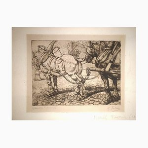 The Plow - Original Etching by M. Falter - 1920 ca. 1920 ca.