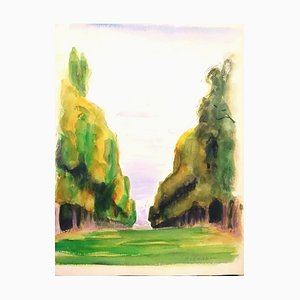 The Tree-Lined Avenue - Original Watercolor on Paper by Pierre Segogne - 1930s 1930s