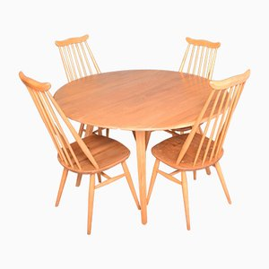 Vintage Blonde Model 384 Windsor Dining Table & Model 359 Goldsmith Chairs from Ercol, Set of 5
