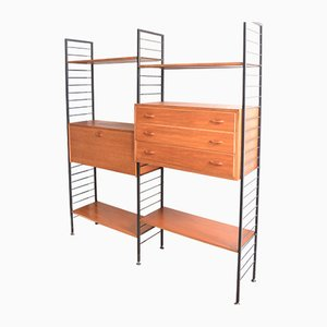 Teak Ladderax 2-Bay Wall System Shelving by Robert Heal for Staples, 1960s