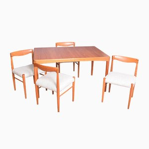 Rosewood and Teak Table & Chairs by H.W. Klein for Bramin, 1960s, Set of 5