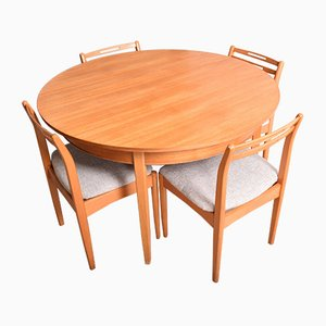 Teak Round Extending Table & Chairs from Avalon, 1960s, Set of 5