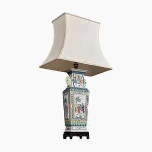 Rosewood & Porcelain Famille Rose Canton Vase Lamp, 1960s