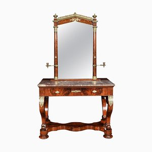 Antique Biedermeier Mahogany & Marble Topped Dressing Table