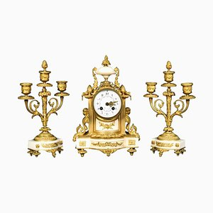 Antique French White Marble Clock with Garnitures from H & F Paris, Set of 3