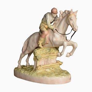Porzellanfigur eines Springrennpferds von Royal Dux, 1900er