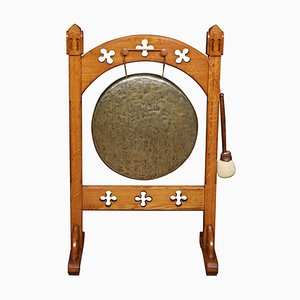 Gothic Brass and Oak Dinner Gong, 1900s