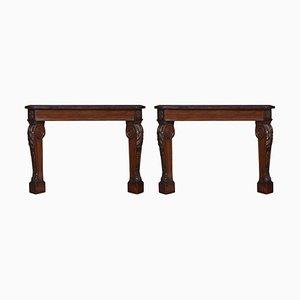 Antique Mahogany Console Tables, Set of 2