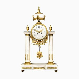 Antique White Marble Mantle Clock by Julien Le Roy Paris