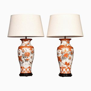 Antique Japanese Orange Porcelain Ground Vases Lamps, Set of 2