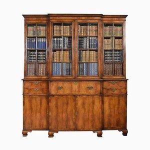 Antique Queen Anne Revival Walnut 4-Door Breakfront Bookcase