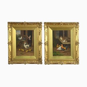 Antique Oil on Board Farmyard Scenes, Set of 2