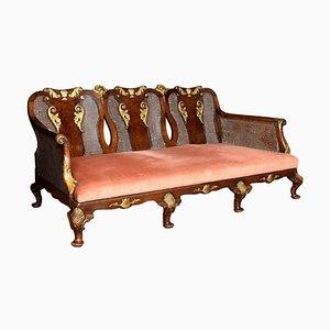 George I Style Walnut Bergère 3-Seat Sofa, 1900s