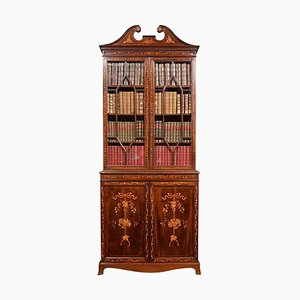 Antique Mahogany 2-Door Inlaid Bookcase
