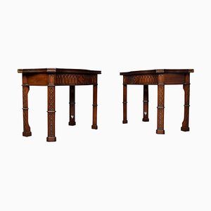 Gothic Mahogany Revival Card Tables, 1950s, Set of 2