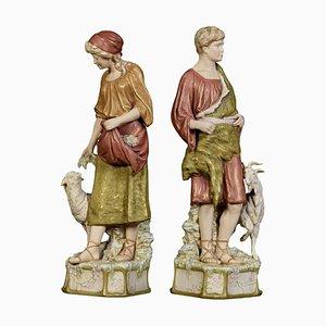 Figurines en Porcelaine de Royal Dux, 1900s, Set de 2