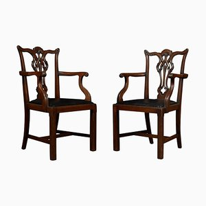 Antique Mahogany Chippendale Revival Armchairs, Set of 2