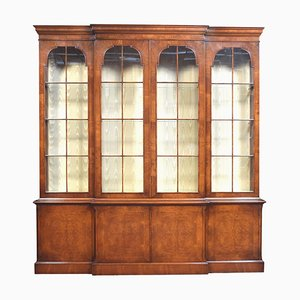 George II Style Walnut Breakfront Display Bookcase, 1940s