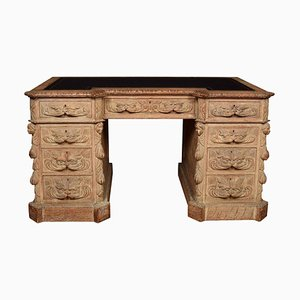 Antique Limed Oak Carved Pedestal Desk