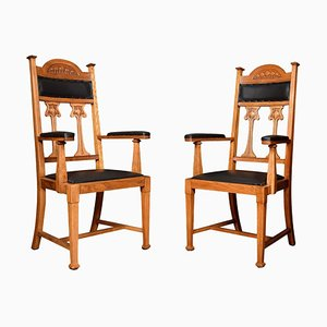 Art Nouveau Oak High Back Armchairs, Set of 2