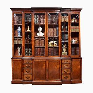 Mahogany Double Breakfront Bookcase, 1950s