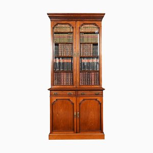 Antique 2-Door Narrow Walnut Bookcase