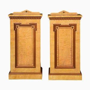 Antique Figured Ash Bedside Cabinets, Set of 2