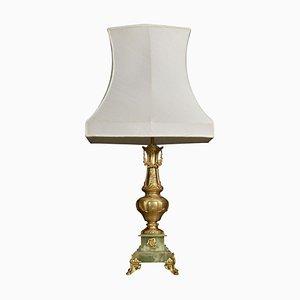 Antike Tischlampe aus vergoldetem Metall & Onyx