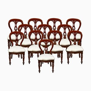 Antique Victorian Mahogany Dining Chairs, Set of 12