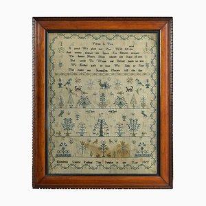 George IV Bestickter Englischer Stickerei Wandteppich Sampler von Elizabeth Castle