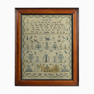George IV English Embroidered Needlework Tapestry Sampler by Elizabeth Castle