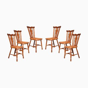 Yew and Elm Framed Windsor Chairs, 1920s, Set of 6