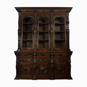 Large Renaissance Revival Carved Oak 3-Door Bookcase