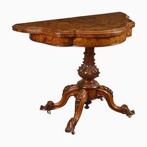 Antiker Kartentisch aus Wurzel- & Nussholz