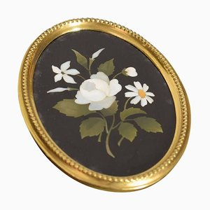 Antique Brass Framed Oval Pietra Dura Plaque