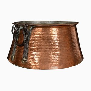 Antique Copper and Iron Mounted Log Bin