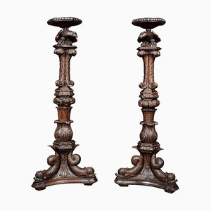 Antique Jacobean Stands, Set of 2