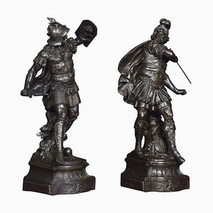 Spelter Figures of Knights, 1900s, Set of 2