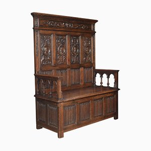 Antique 17th Century Style Carved Oak Settle