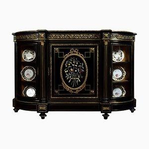 Mueble o credenza Napoleon III de bronce dorado y Pietra Dura ennegrecido