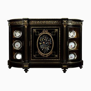 Napoleon III Gilt Bronze & Pietra Dura Mounted Ebonized Cabinet or Credenza