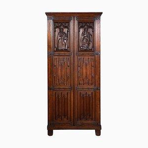 Antique Gothic Oak 2-Door Cupboard