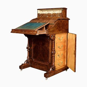 Victorian Burr Walnut Pop-up Davenport Desk