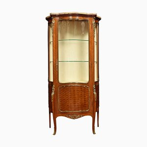 Antique French Serpentine Walnut and Kingwood Vitrine